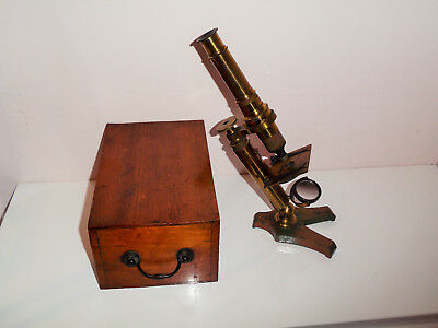 Antique Victorian Edwardian Brass Microscope Cased Loft Find Unpolished