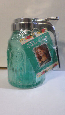The Pioneer Woman Syrup Pourer-Embossed Pressed Glass-TURQUOISE-NEW