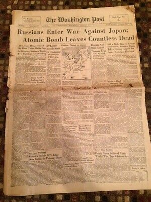 "August 9,1945 The Washington Post ""Atomic Bomb"" Headline Newspaper"