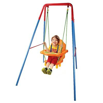 Toddler Baby Swing With Safety Seat Kids Outdoor Garden Play Toy Metal Frame Set