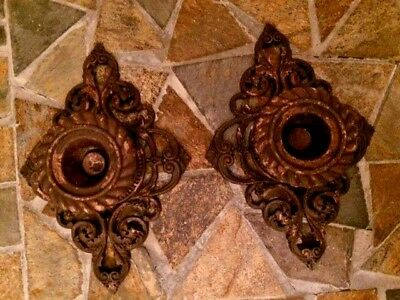 """New Lot of 2 Large Cast Iron 5"""" Scroll Rustic Drawer Cabinet Pulls Brown Rust"""
