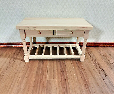 Dollhouse Miniature Unfinished Kitchen Prep Table with Drawer 1:12 Scale