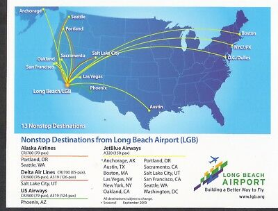 LGB Long Beach Airport - Nonstop Destinations PROMO CARD 2013 AS DL US JetBlue