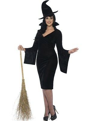Ladies Curves Witch Costume Adult Halloween Fancy Dress Plus Size 16-30