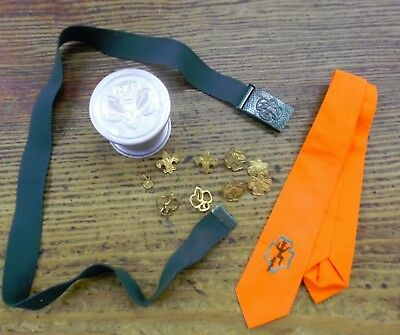 VTG GSA Girl Scout Lot Collapsible Cup Pins Stretch Belt Brownie Tie