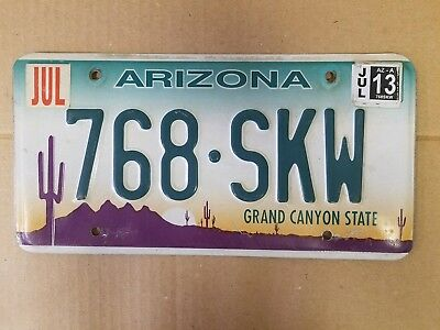 Arizona GRAND CANYON STATE license plate preowned expired July 2013 embossed