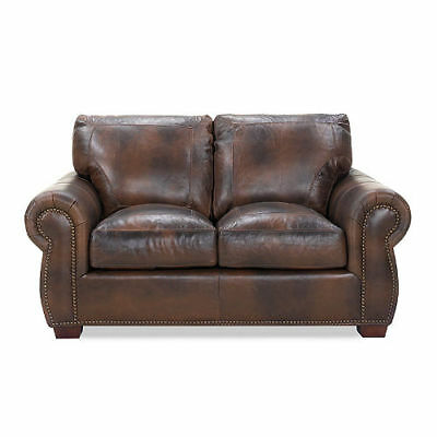 Vintage Leather Craftsman Kingston Top Grain Leather Sofa New New