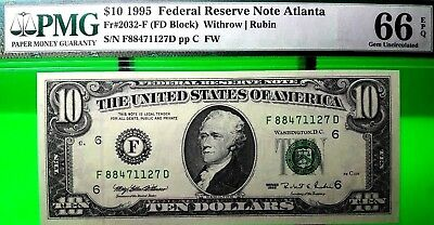 Money Us $10 1995 Federal Reserve Atlanta Gem Unc Fr # 2032 F Value $200