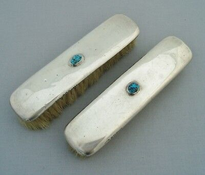 Liberty & Co Cymric Solid Silver Backed Clothes Brushes Turquoise Birm 1914