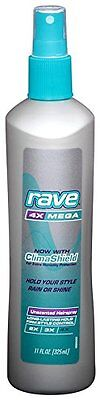 3 Pack Rave 4X Mega Hairspray With Clima Shield Unscented 11Oz Each