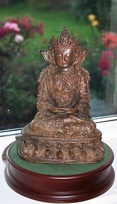 Rare Chinese Antique 19th Cent Bronze Buddha beautiful Intricate metal casting