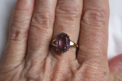 Fine Vintage Art Deco Style 9 Carat Gold Oval 3.00 Ct Amethyst Ring P Us 7 3/4