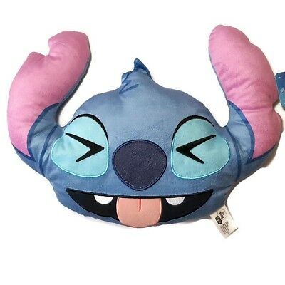 Disney Emoji Stitch Large Plush Pillow Squinting Face with Tongue Laugh Happy