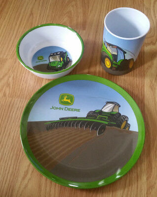 John Deere Kids Plate Set - Childrens Melamine Plate Bowl Cup
