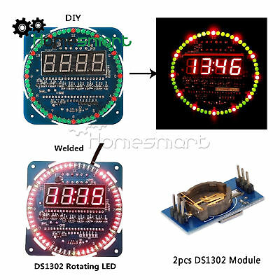 DS1302 Rotating LED Electronic Digital Clock Kit 51 SCM 5V DIY/Assembled AHS