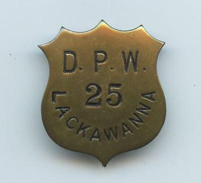 1900's BRASS SHIELD-SHAPED PINBACK BADGE - LACKAWANNA NY DEPARTMENT PUBLIC WORKS