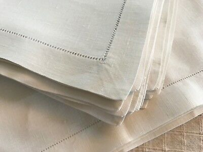 NAPKIN PLACEMAT SET OF 8 =16 PIECES HEMSTITCHED HEAVIER WHITE LINEN as found