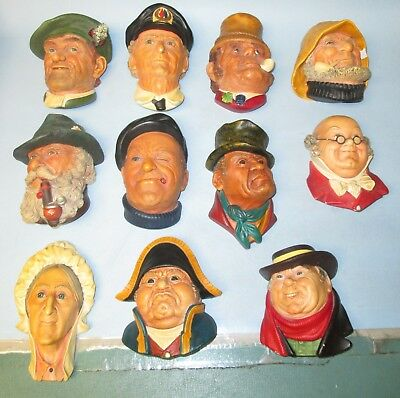 Vintage Chalkware Bossons Head Lot Congleton England Total of 11