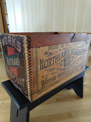 Antique Vintage Works Northland Biscuits Label Wooden Box Crate Minneapolis MN