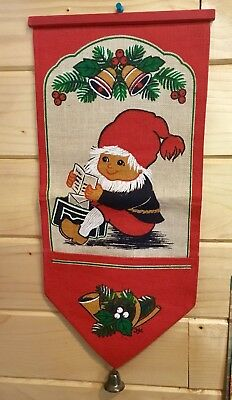 gnome scandinavian jute burlap christmas card holder wall hanging bell - Christmas Card Holder Wall Hanging