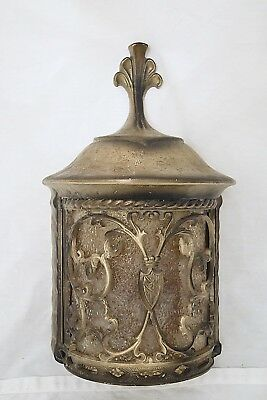 Vintage Brass Colored Outside Wall Fixture Housing -Peeble 1/2 Round Glass