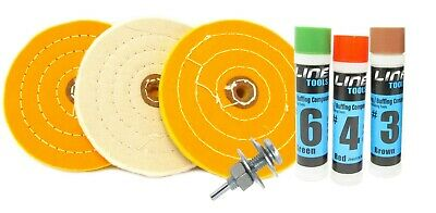 "7pc Metal Buffing Kit for Drill 6"" Wheel for Polishing Gold Silver Copper Brass"