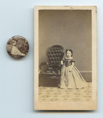 1800's THREE CDV IMAGES & ONE PHOTO PINBACK OF FAMOUS CIRCUS MIDGETS - SIDESHOW
