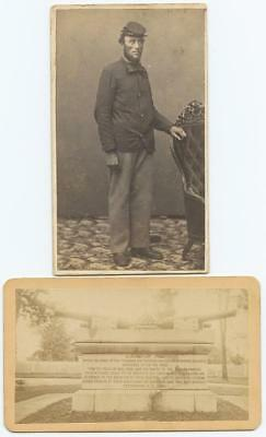 1860s 2 CIVIL WAR CDVs - LINCOLN-LIKE SOLDIER - UNKNOWN SOLDIER, CANNON MONUMENT
