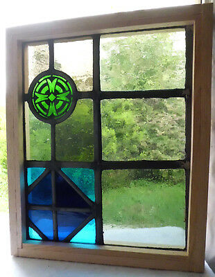 Antique Vtg Church Stained Glass Window Architectural Salvage Cross Roundel W15