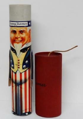 TWO 1940's FANNY FARMER FIGURAL CANDY BOXES - FIRECRACKER & MECHANICAL UNCLE SAM