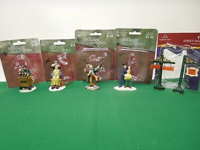 Lot of 5 Holiday Time Village Collection Figurines for Christmas Village
