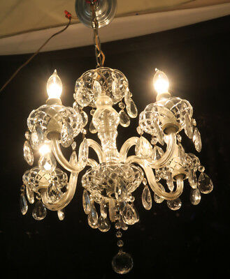 Chandelier 5Light Vintage Glass silver Crystal Gilt Brass FRENCH Italy Bobeche