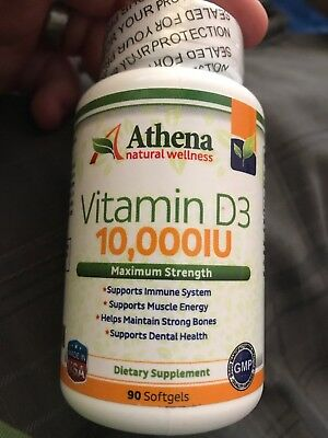 Athena - Vitamin D3 10,000IU High Strength - 90 Softgels Capsules - Supports...