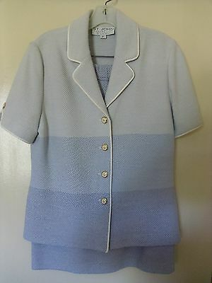 St. John Collection By Marie Gray Blue 2-Piece Jacket And Skirt Set - Size 6/12