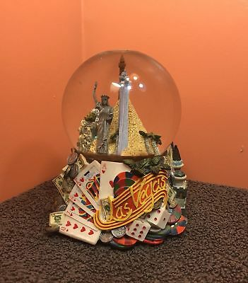 Rare Musical Las Vegas Strip Nevada Snow Globe Statue Of Liberty New York Casino