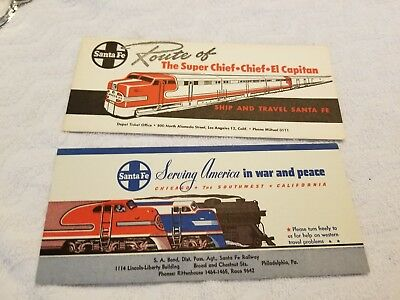 2 - Santa Fe Railroad 1940's Stationery Ink Blotters, World War Ii, + Diesel Loc
