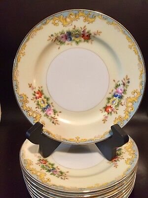 "Meito ""MEI 8""  BREAD/BUTTER Plates/Yellow Edge, Floral Sprays Gold Trim LOT OF 8"
