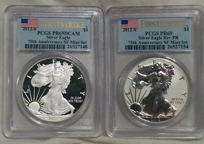 2012 - S American Silver Eagle REVERSE PROOF coin Set 75th SF mint anniversary