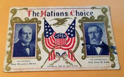 c1908  Political Postcard The Nations Choice for President and Vice Pressident