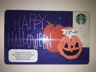 Happy Halloween Pumpkin + Black Cat Card 🎃 2018 - Starbucks UK Coffee Ref 6154