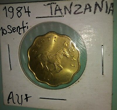 1984 Tanzania 10 senti, Zebra coin , About Uncirculated Condition !!!!