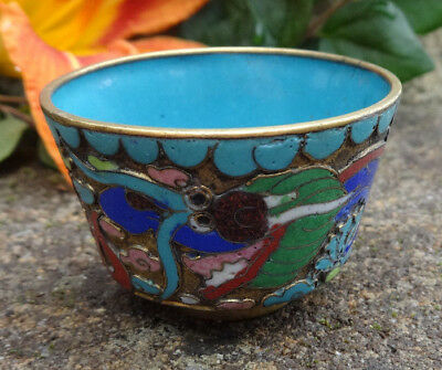 Blue, Enameled Cloisonne Open Salt Dip, Cellar, Dish w/Asian Dragon!
