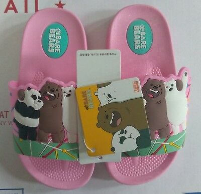 We Bare Bears Cartoon Children's Slides Toddler Size 8US New Very Cute Fast Ship