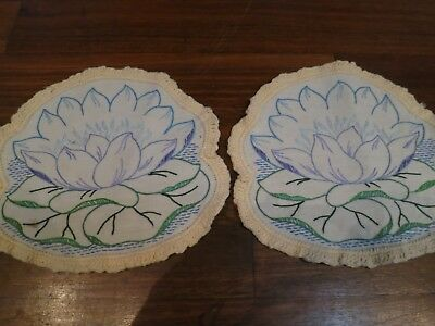 2 Vintage Linen Doilies – Hand Embroidery & Crochet – Waterlilies