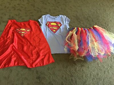 FUN bright colorful 3 pc Supergirl dress up outfit Halloween costume tutu cape