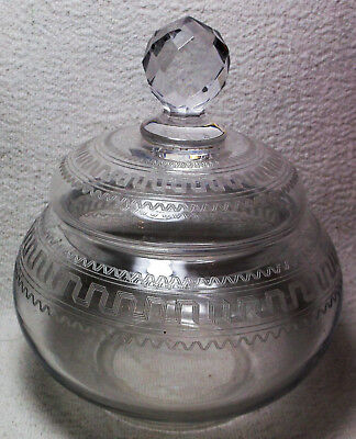 Blown Glass Antique Vanity Jar Needle Etched Design Cut Faceted Finial Ca. 1900