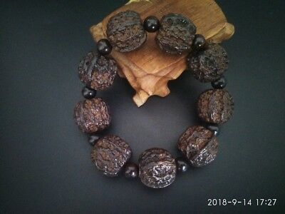 CHINESE HAND CARVED Natural Buddha Beads Wood Bracelet with Walnuts Pattern RN29
