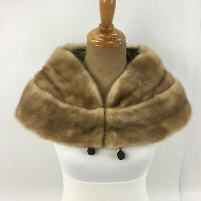 Vintage Real Fur Stole Collar Wrap Mink Satin Lined Medium Brown