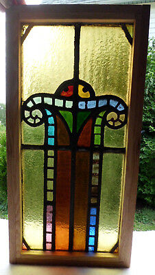Antique Vtg Church Stained Glass Window Architectural Salvage Art Deco Arch W98