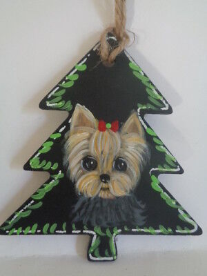 Sculpted Art Little Yorkshire Terrier Christmas Ornament Huge